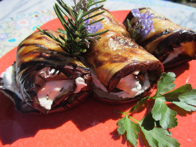 goat cheese rolled into grilled eggplant for an impressive presentation